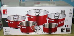 BATTERIA CASSERUOLE 9PZ INOX 18-10 WHITE-BLACK-RED